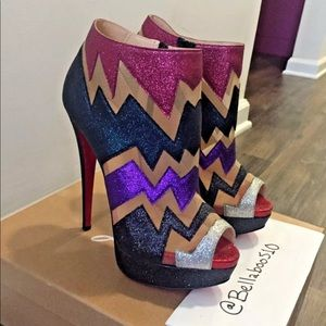 "Christian Louboutin ""Ziggy 150 Glitter Mini"" 37.5"
